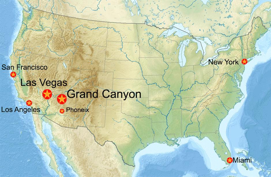Carte des États Unis avec le Grand Canyon
